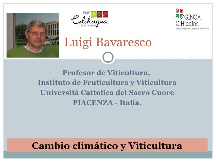 Profesor de Viticultura,  Instituto de Fruticultura y Viticultura Università Cattolica del Sacro Cuore PIACENZA - Italia. ...