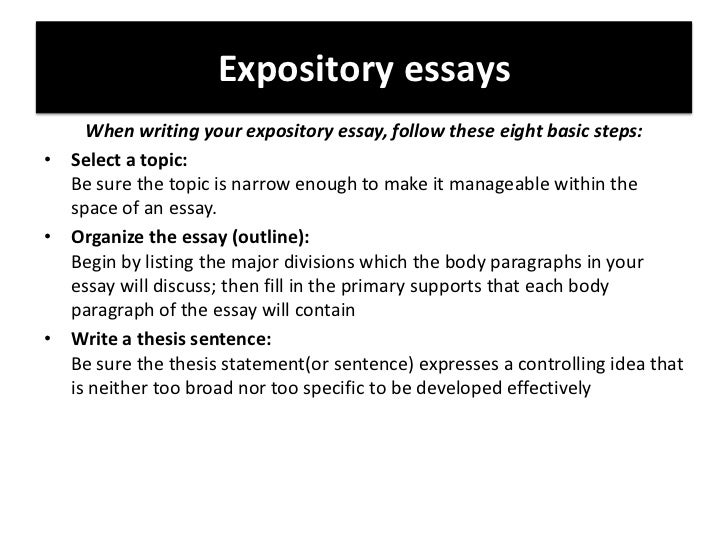 meaning of an expository essay An expository essay is a piece of writing where the writer presents opinions, points of view, ideas, concepts, arguments on a particular topic.