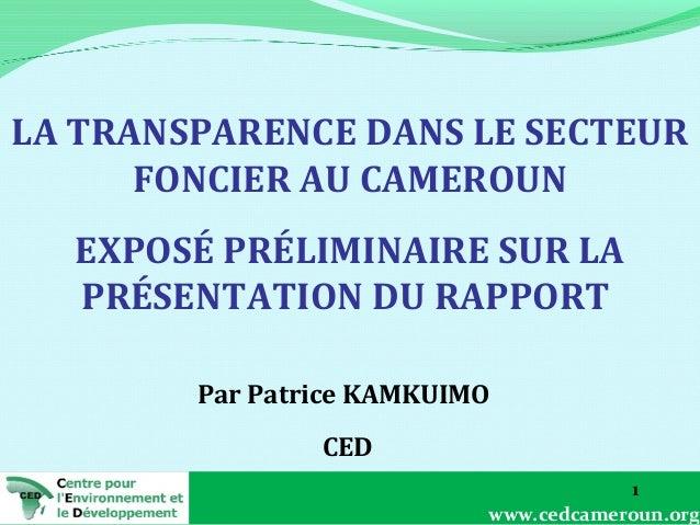 LA TRANSPARENCE DANS LE SECTEUR FONCIER AU CAMEROUN EXPOSÉ PRÉLIMINAIRE SUR LA PRÉSENTATION DU RAPPORT Par Patrice KAMKUIM...