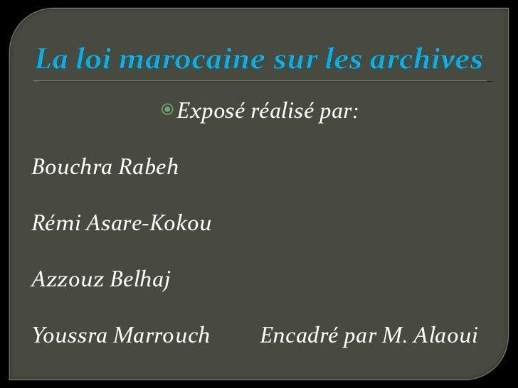 Exposé sur la loi marocaine des archives