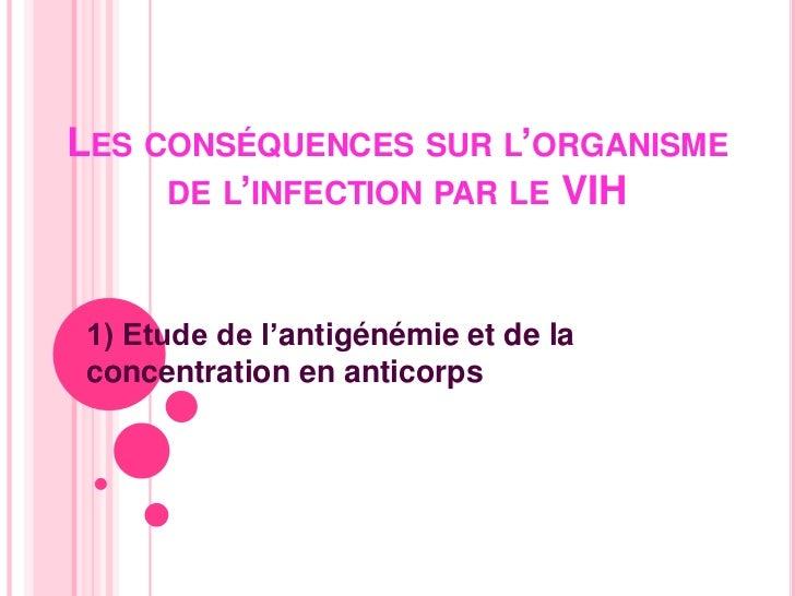 Les conséquences sur l'organisme de l'infection par le VIH<br />1) Etude de l'antigénémie et de la concentration en antico...