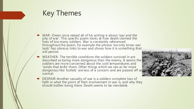 themes of spring offensive wilfred owen Wilfred owen - wilfred edward salter owen in 'spring offensive', owen mixes the ideas of war and nature in a conversational tone through the themes of the.