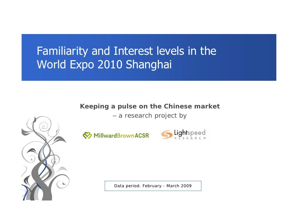 Familiarity and Interest levels in the World Expo 2010 Shanghai            Keeping a pulse on the Chinese market          ...