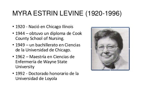 myra levine nursing theory Levine's theory 1 levine's theory presented by : pramod kumar 2 introduction • myra estrin levine (1920-1996) was born in chicago, illinois ---levine developed an interest in nursing because her father (who had gastrointestinal problems) was frequently ill and required nursing care on man.