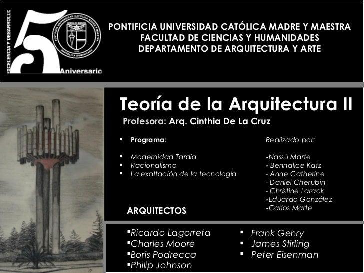 PONTIFICIA UNIVERSIDAD CATÓLICA MADRE Y MAESTRA       FACULTAD DE CIENCIAS Y HUMANIDADES      DEPARTAMENTO DE ARQUITECTURA...