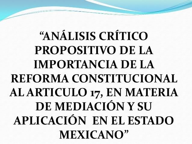 mediacion art. 17 CPEUM