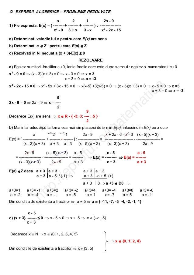 O. EXPRESII ALGEBRICE  PROBLEME REZOLVATE x 2 12x9 1)Fieexpresia:E(x)=(++...