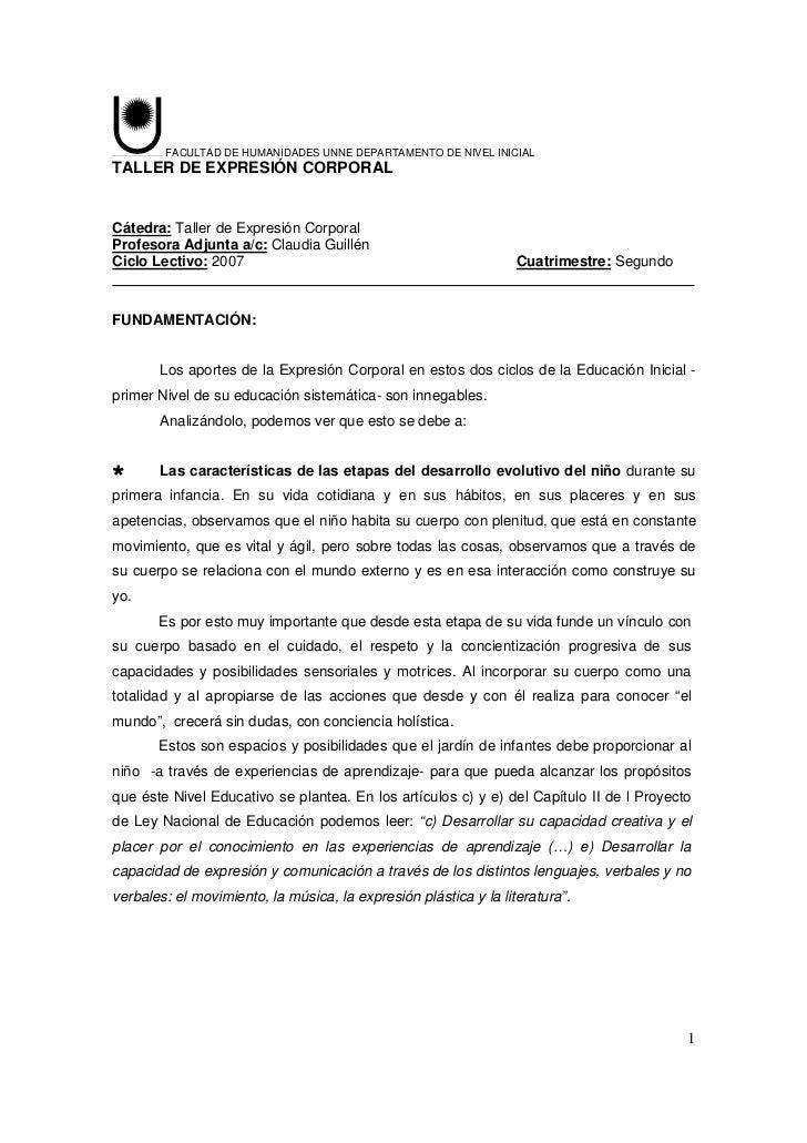FACULTAD DE HUMANIDADES UNNE DEPARTAMENTO DE NIVEL INICIALTALLER DE EXPRESIÓN CORPORALCátedra: Taller de Expresión Corpora...