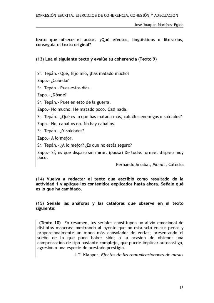 Ejercicios coherencia y cohesi n for Interior sinonimos