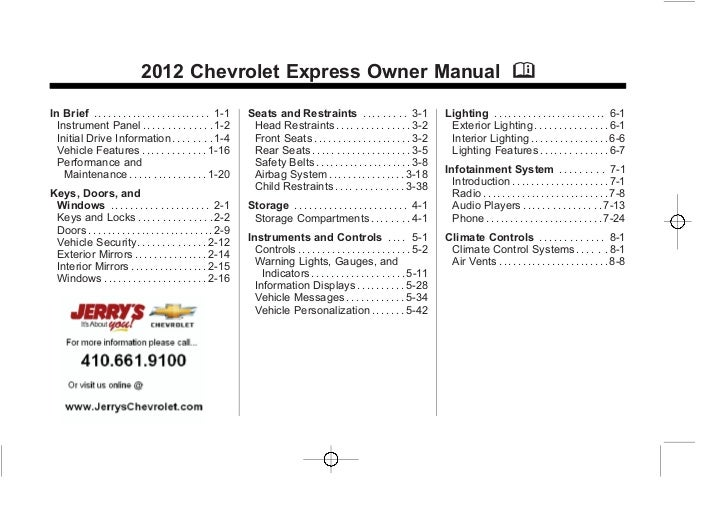 2012 Chevy Express Owner's Manual Baltimore, Maryland