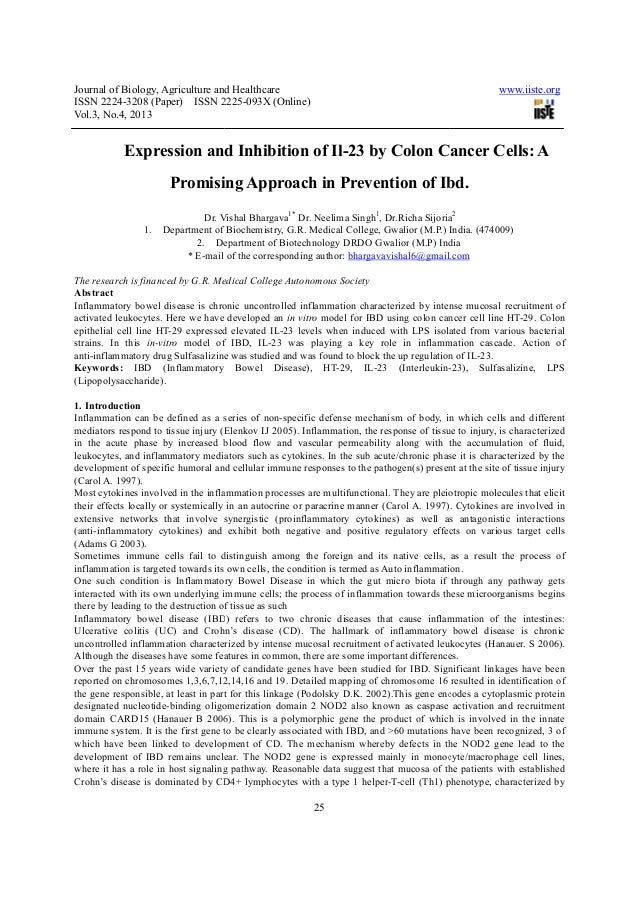 Expression and inhibition of il 23 by colon cancer cells a promising approach in prevention of ibd.