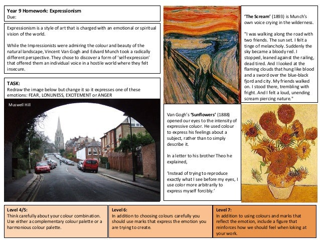 Year 9 Homework: Expressionism Due: Expressionism is a style of art that is charged with an emotional or spiritual vision ...