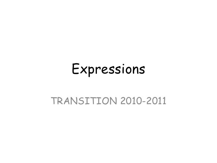 Expressions TRANSITION 2010-2011