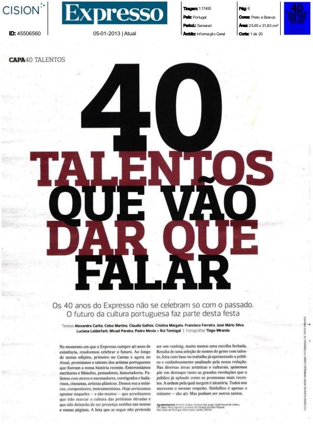 Expresso   janeiro de 2013 - sergio mah -dcc- distinguido como um dos 40 talentos que vao dar que falar[1]