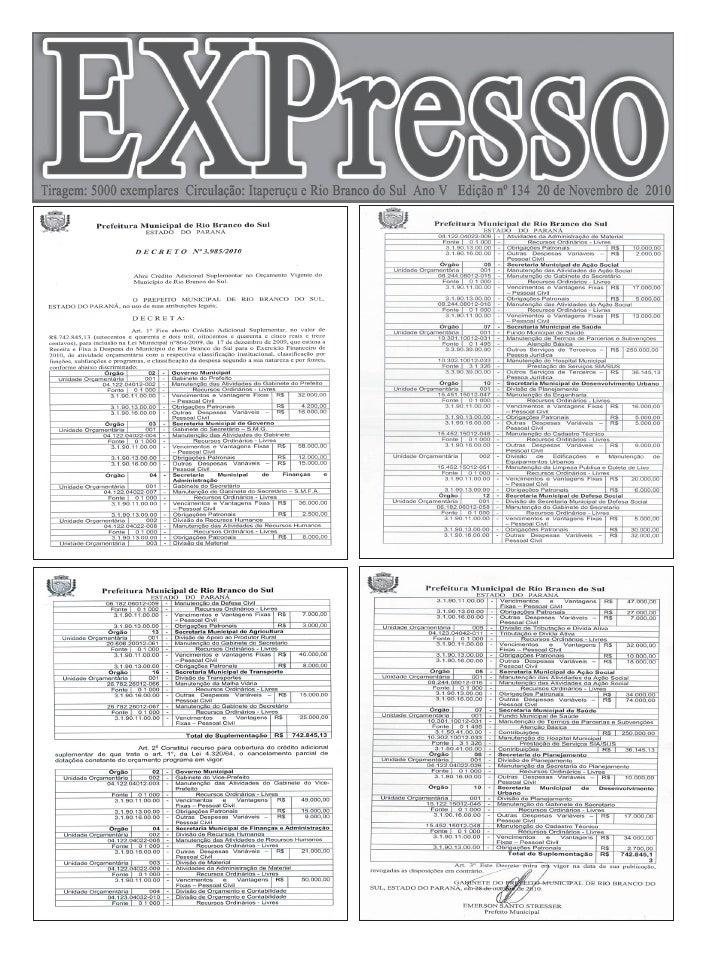 Pág. 2   Edição 134 - 20 de Novembro de 2010                                                          Editora Faria Ltda  ...