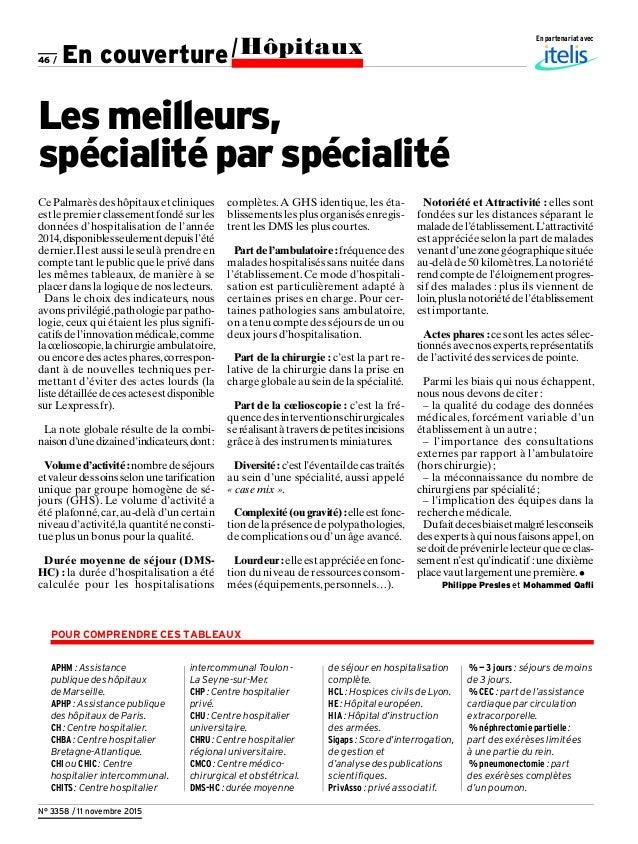 46 / N° 3358 / 11 novembre 2015 En partenariat avec APHM : Assistance publique des hôpitaux de Marseille. APHP : Assistanc...