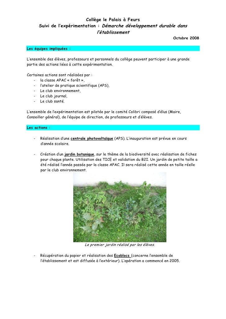 Collège le Palais à Feurs        Suivi de l'expérimentation : Démarche développement durable dans                         ...