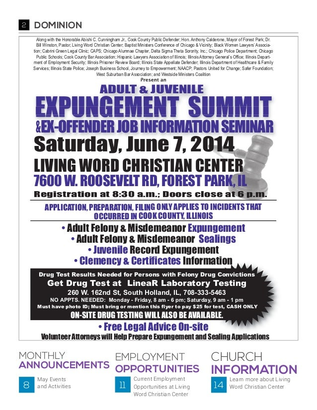 Expungement Summit Page from The Dominion, May 2014