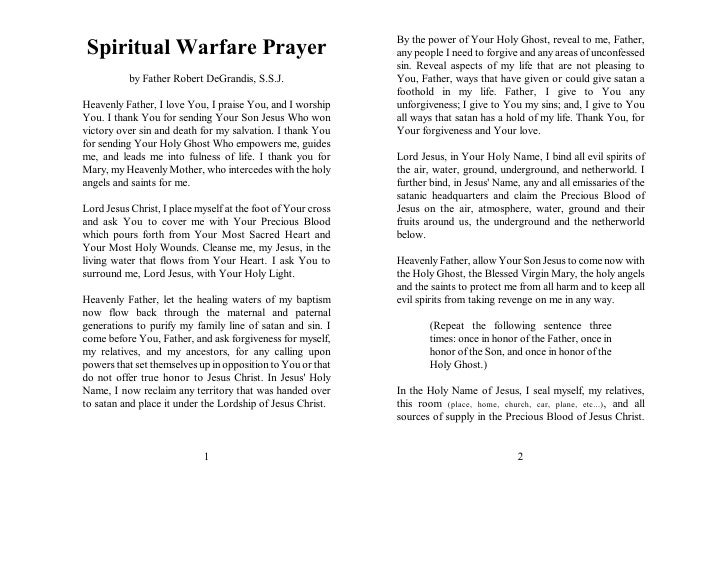 By the power of Your Holy Ghost, reveal to me, Father,Spiritual Warfare Prayer                                      any pe...