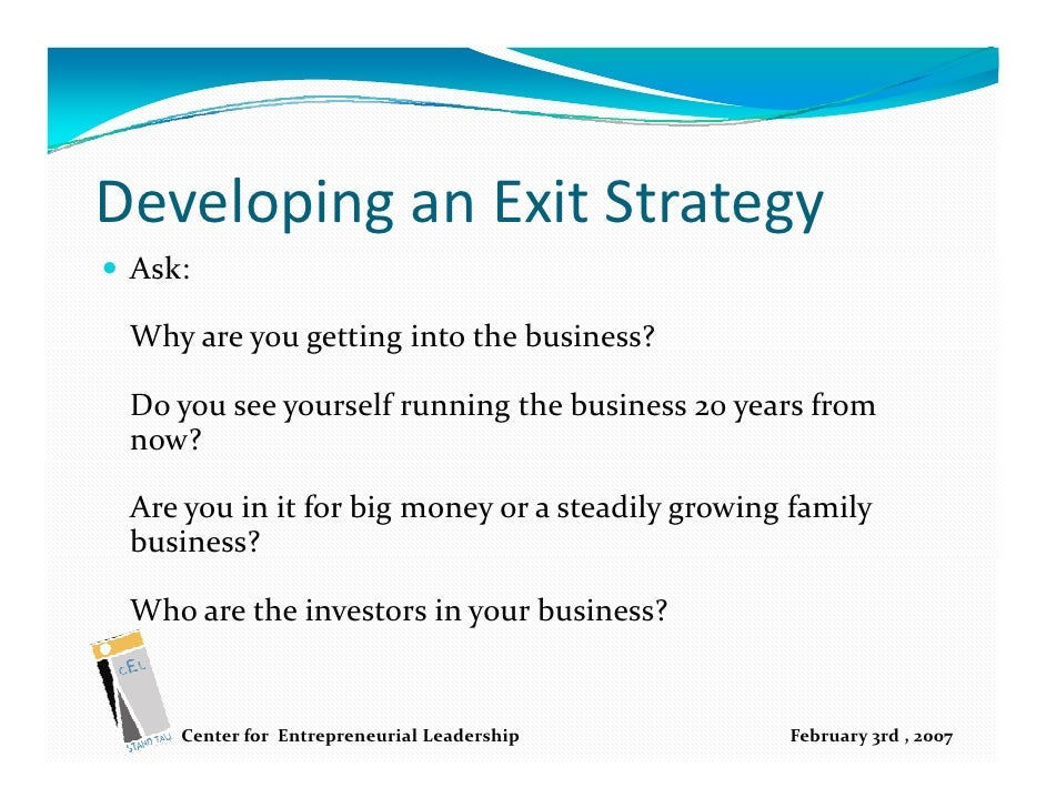 exit strategy of a business plan example