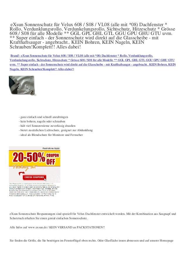 eXsun Sonnenschutz für Velux 608 / S08 / VL08 (alle mit *08) Dachfenster *Rollo, Verdunklungsrollo, Verdunkelungsrollo, Si...
