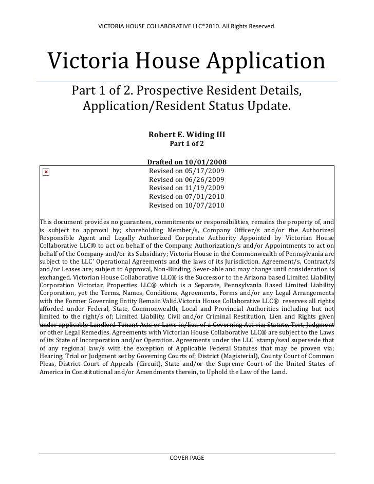 Victoria House ApplicationPart 1 of 2. Prospective Resident Details, Application/Resident Status Update.Robert E. Widing I...