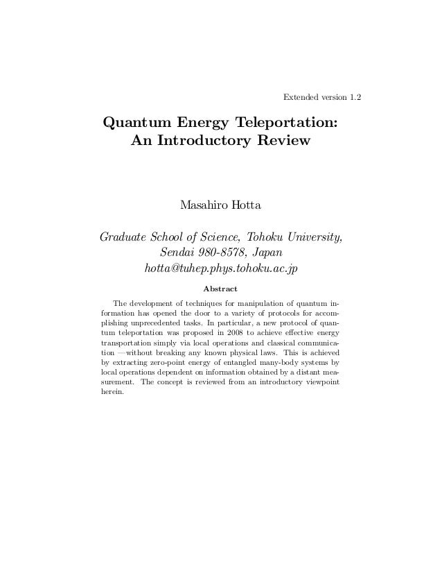 Extended version 1.2  Quantum Energy Teleportation: An Introductory Review  Masahiro Hotta Graduate School of Science, Toh...