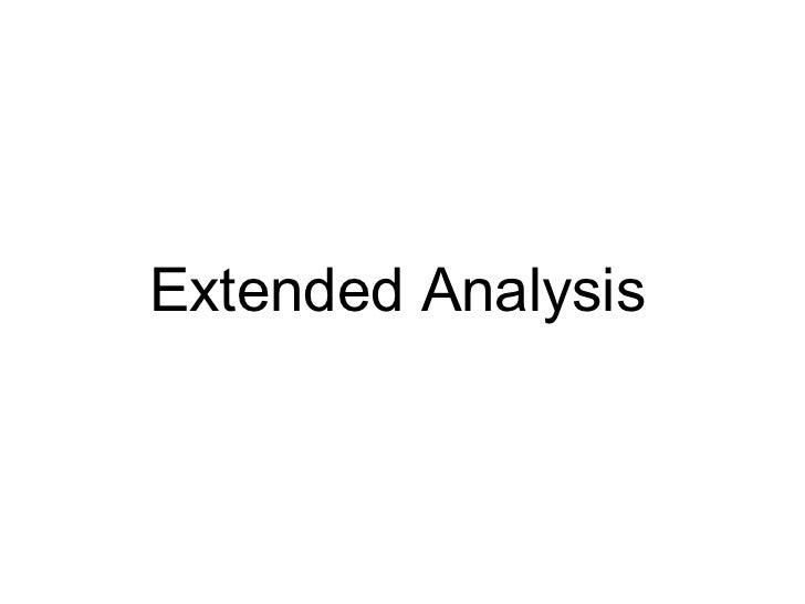 Extended analysis