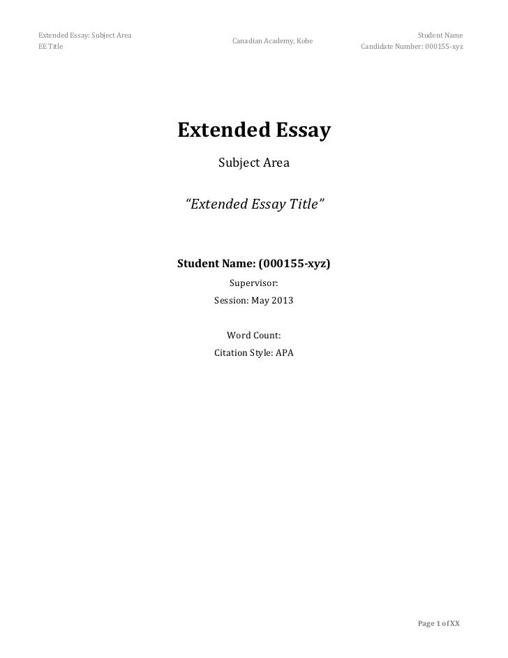 ib extended essay subject reports