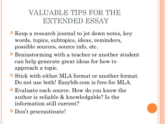 extended essay contents
