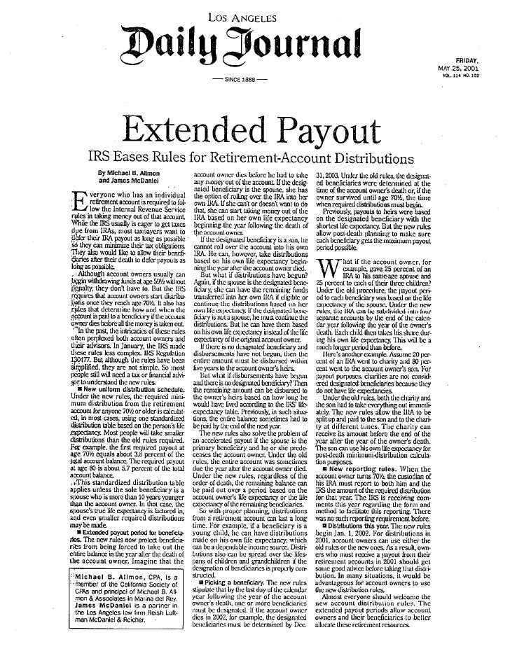 Extended Payout - IRS Eases Rules for Retirement Account Distributions