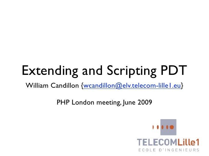 Extending and scripting PDT