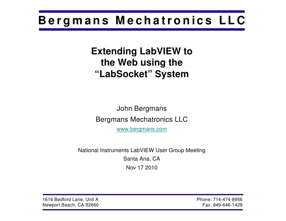 "Extending LabVIEW to the Web using ""LabSockets"""