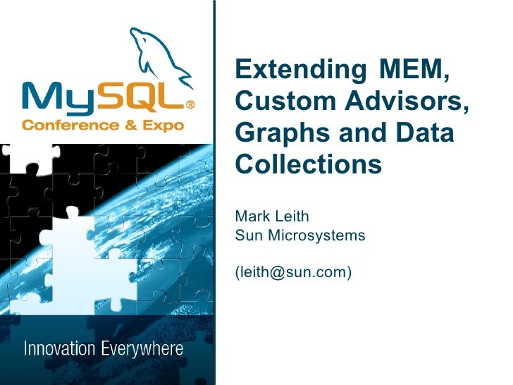 Extending MEM, Custom Advisors, Graphs and Data Collections Mark Leith Sun Microsystems  (leith@sun.com)