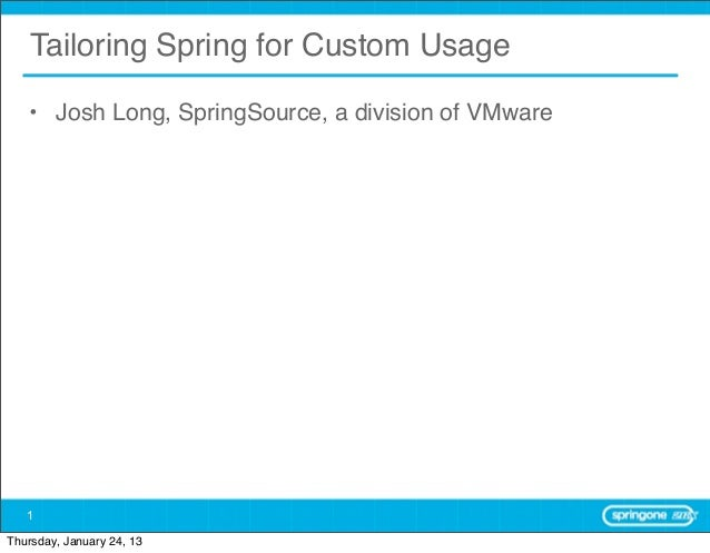 Tailoring Spring for Custom Usage   • Josh Long, SpringSource, a division of VMware   1Thursday, January 24, 13