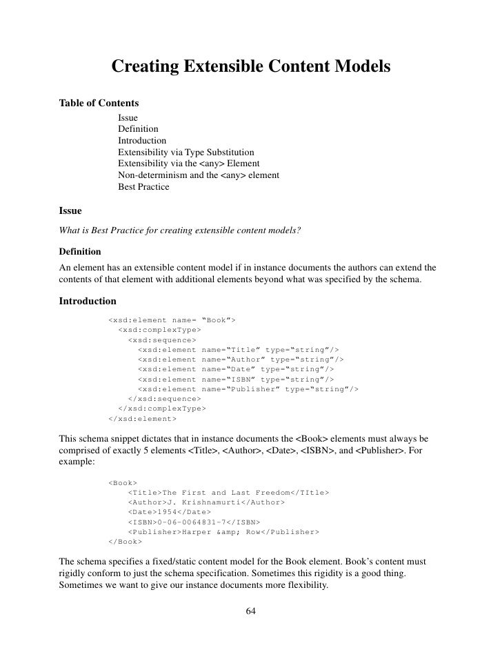 Creating Extensible Content Models Table of Contents                Issue                Definition                Introdu...