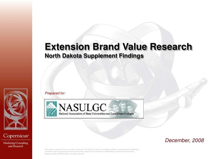 Extension Brand Value Research North Dakota Supplement Findings     Prepared for:                                         ...