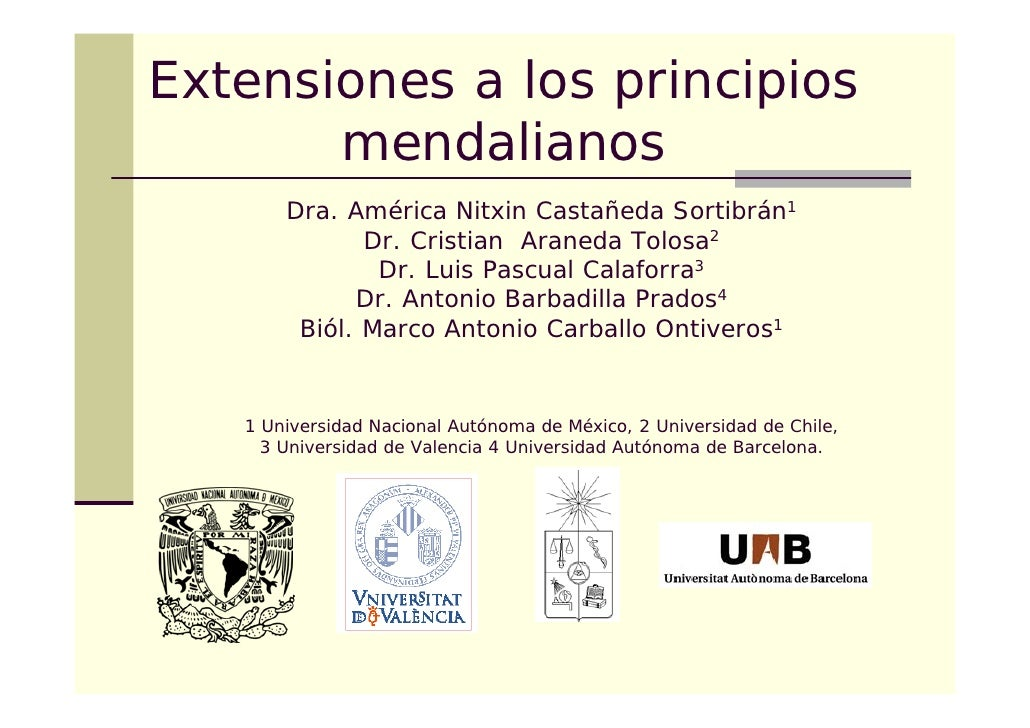 Extensiones a los principios        mendalianos        Dra. América Nitxin Castañeda Sortibrán1               Dr. Cristian...