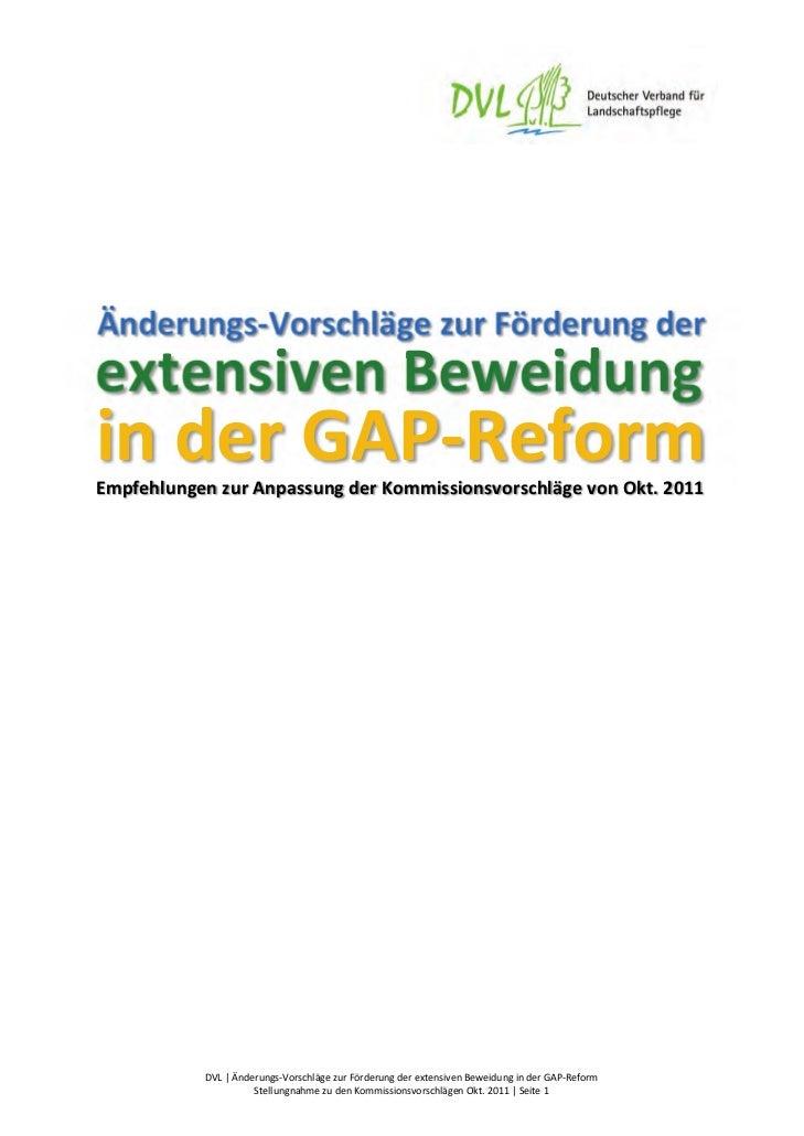 Änderungs‐VorschlägezurFörderungderextensivenBeweidunginderGAP‐ReformEmpfehlungenzurAnpassungderKommis...