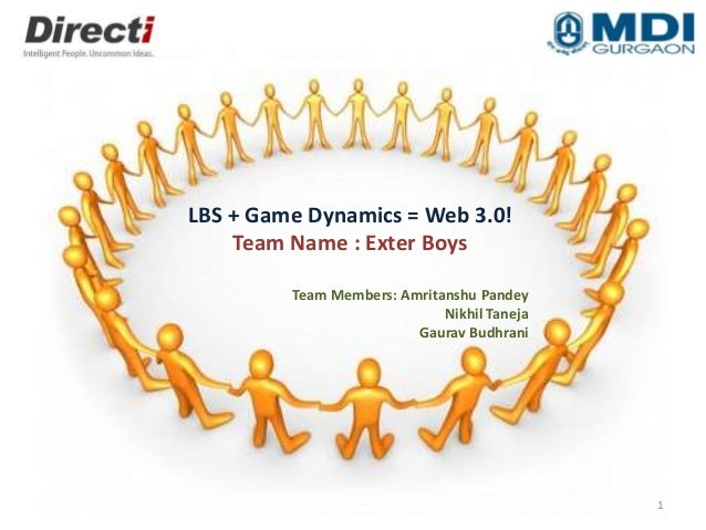 LBS + Game Dynamics = Web 3.0! Team Name : Exter Boys Team Members: Amritanshu Pandey Nikhil Taneja Gaurav Budhrani 1