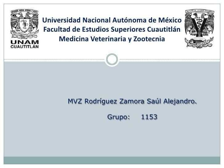 Universidad Nacional Autónoma de MéxicoFacultad de Estudios Superiores Cuautitlán    Medicina Veterinaria y Zootecnia     ...