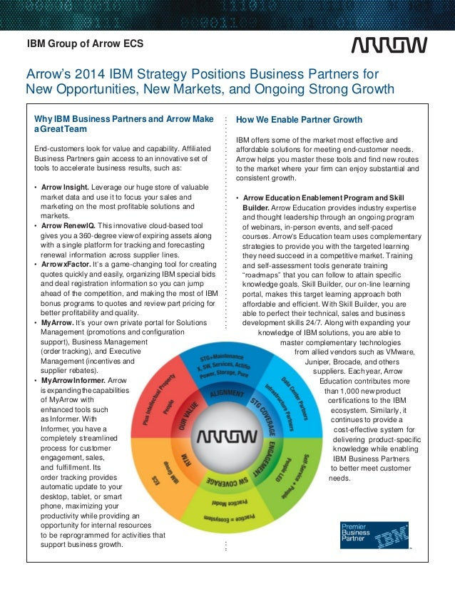 IBM Group of Arrow ECS  Arrow's 2014 IBM Strategy Positions Business Partners for New Opportunities, New Markets, and Ongo...