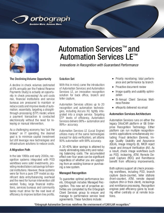 Automation Services™ and Automation Services LE™ Innovations in Recognition with Guaranteed Performance  The Declining Vol...
