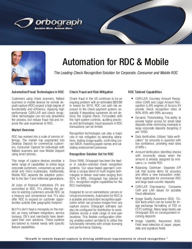 Automation for RDC & Mobile The Leading Check Recognition Solution for Corporate, Consumer and Mobile RDC  Automation/Frau...