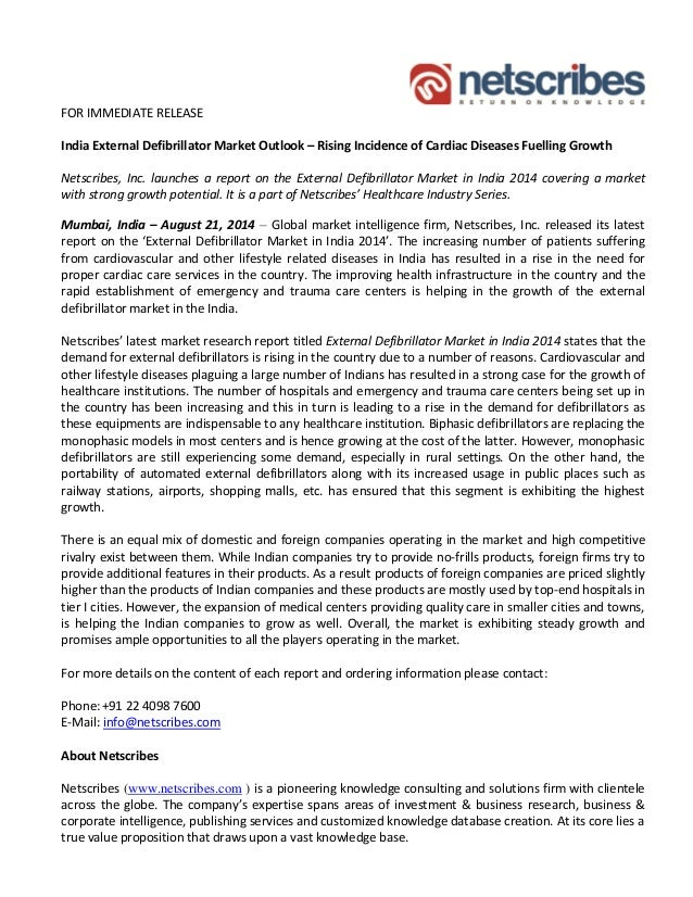 Market Research Report : External defibrillator market in india 2014 - Press release