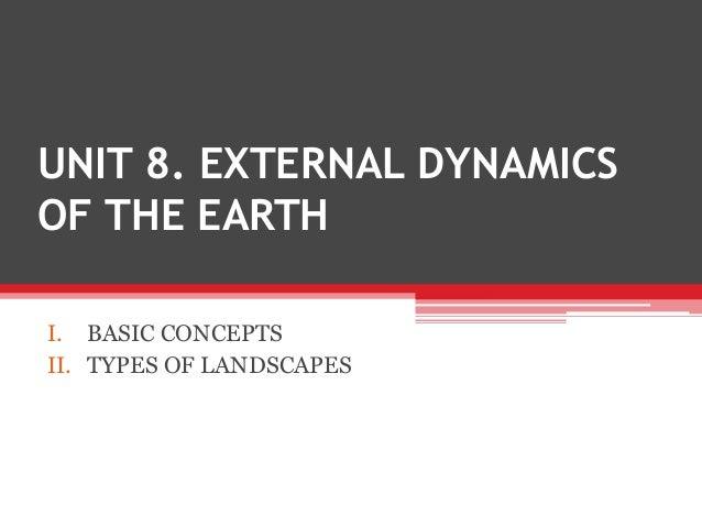 UNIT 8. EXTERNAL DYNAMICSOF THE EARTHI. BASIC CONCEPTSII. TYPES OF LANDSCAPES