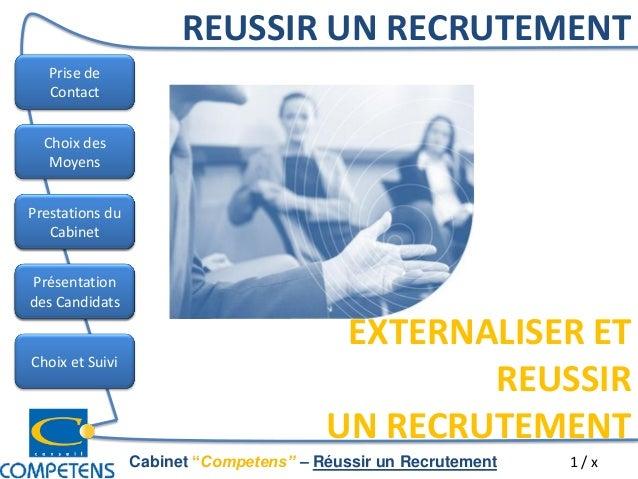 """Prise de Contact Les Métiers Choix des Moyens Les Grands Enjeux Choix et Suivi Cabinet """"Competens"""" – Réussir un Recrutemen..."""