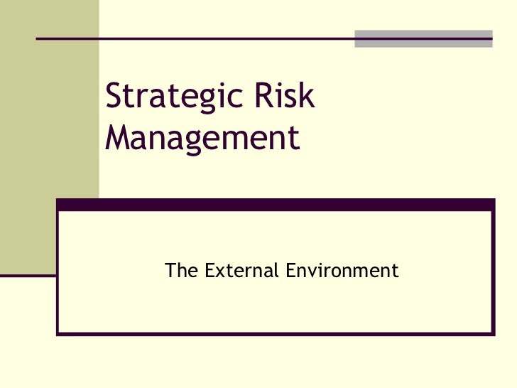 Strategic Risk Management   The External Environment