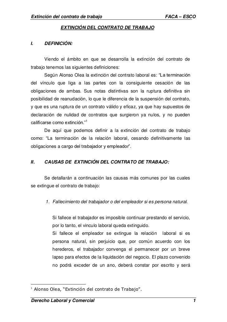 Extinci n del contrato de trabajo for Contrato laboral para empleadas domesticas