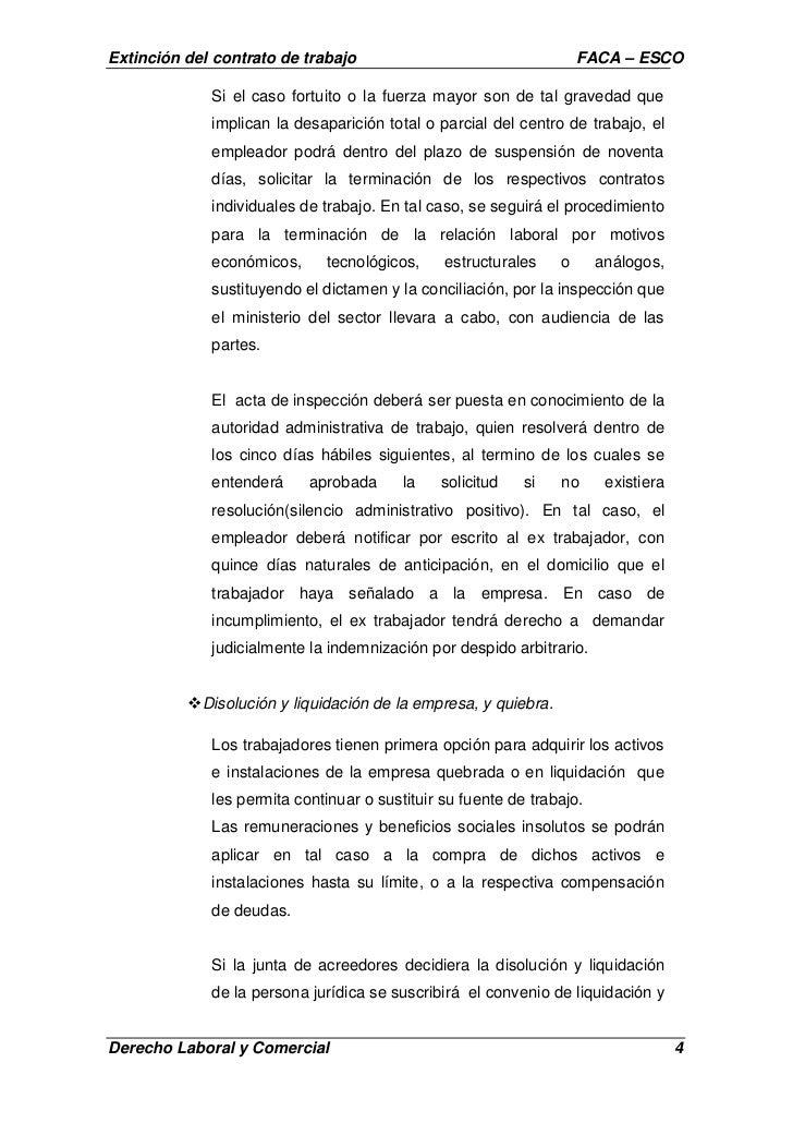 contrato de servicio domestico trabajos extincion del